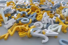 Heap of plastic digits. Heap of color plastic digits stock illustration