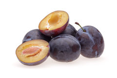 Heap plums. On white background Royalty Free Stock Images