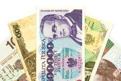Heap of polish zloty bank notes stock photo