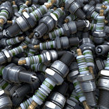 Heap, pool of spark plugs. 3d rendering, steel, iron, china Stock Image
