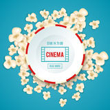 Heap popcorn for movie lies on blue background. Vector illustration for cinema design. Pop corn food pile . Border and frame for film poster flyer. Delicious Royalty Free Stock Image