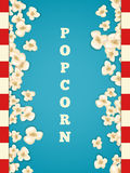 Heap popcorn for movie lies on blue background. Vector illustration for cinema design. Pop corn food pile . Border and frame for film poster flyer. Delicious Royalty Free Stock Photo