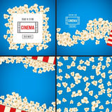 Heap popcorn for movie lies on blue background. Popcorn for movie lies on blue background. Vector illustration for cinema design. Pop corn food pile . Border Royalty Free Stock Photos