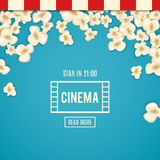 Heap popcorn for movie lies on blue background. Vector illustration cinema design. Pop corn food pile . Border and frame film poster flyer. Delicious theater Stock Photo