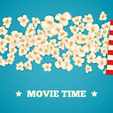Heap popcorn for movie lies on blue background. Vector illustration cinema design. Pop corn food pile . Border and frame film poster flyer. Delicious theater Stock Photos