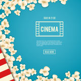 Heap popcorn for movie lies on blue background. Vector illustration for cinema design. Pop corn food pile isolated. Border and frame for film poster flyer Royalty Free Stock Photography
