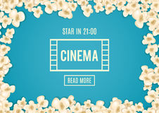 Heap popcorn for movie lies on blue background. Vector illustration for cinema design. Pop corn food pile isolated. Border and frame for film poster flyer Stock Images