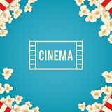Heap popcorn for movie lies on blue background. Vector illustration for cinema design. Pop corn food pile isolated. Border and frame for film poster flyer Royalty Free Stock Photo