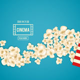 Heap popcorn for movie lies on blue background. Vector illustration for cinema design. Pop corn food pile isolated. Border and frame for film poster flyer Royalty Free Stock Images