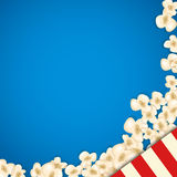 Heap popcorn for movie lies on blue background. Vector illustration for cinema design. Pop corn food pile isolated. Border and frame for film poster flyer Stock Photos