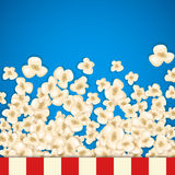 Heap popcorn for movie lies on blue background. Vector illustration for cinema design. Pop corn food pile isolated. Border and frame for film poster flyer Stock Image