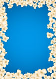 Heap popcorn for movie lies on blue background. Vector illustration for cinema design. Pop corn food pile isolated. Border and frame for film poster flyer Royalty Free Stock Photos