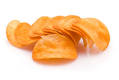 Heap of Potato Chips. Isolated on white Royalty Free Stock Photo