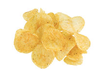Heap potato chips. Isolated on white Royalty Free Stock Photo