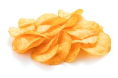 Potato chips isolated. Heap of potato chips isolated on white background royalty free stock images