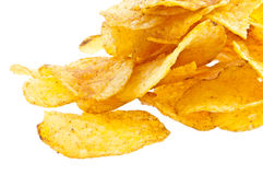 Heap of potatoe chips Stock Photos