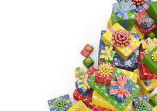 Heap of Presents Background. Isolated pile of gift-boxes with copyspace vector illustration
