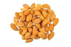 Heap of apricot seeds isolated on white background royalty free stock photos