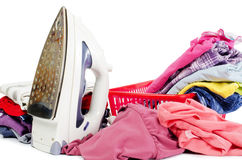 Heap of pure clothes with iron Stock Image