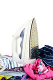 Heap of pure clothes with iron Royalty Free Stock Images