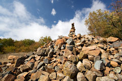 Heap (pyramid) of stones. Crimea mountains.Au-Dag. Stock Photography