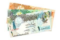 Heap of qatari riyal bank notes background. Specimen stock photography