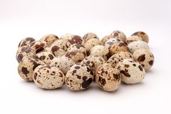 Heap of quail eggs stock photos