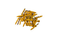 Heap of the quick installation dowels isolated on white Royalty Free Stock Image