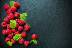 Heap of raspberry on stone Stock Photography
