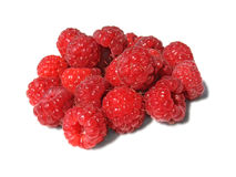 Heap of raspberry on white background stock photography