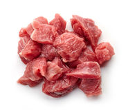 Heap of raw diced beef meat isolated on white, from above. Heap of raw diced beef meat isolated on white background, top view Stock Photography