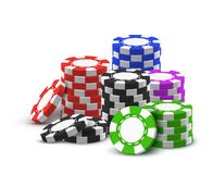 Heap of red, blue, black, green betting chips. Pile or heap for realistic casino chips. 3d pile or stack of poker money. Tower made of green and blue, red and royalty free illustration