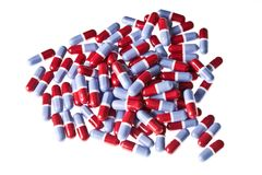 Heap of red and blue pills Stock Image
