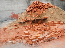 Heap of red brick Stock Photo
