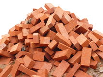 Heap of red brick isolated Royalty Free Stock Image