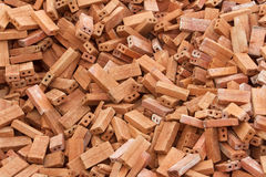 Heap of red bricks Stock Images