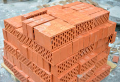 Heap of red bricks. Royalty Free Stock Images