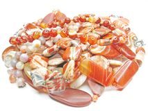 Heap of red colored beads Royalty Free Stock Images