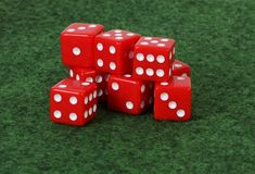 A heap of red dices stock images