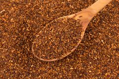 Heap of dry rooibos tea. Heap of red dry rooibos healthy traditional organic tea in spoon Stock Photography