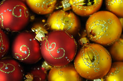 Heap of Red and gold christmas balls Royalty Free Stock Photos