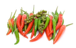 Heap Red and Green Chilli Hot Peppers Royalty Free Stock Images