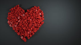 Heap of Red Heart Shape with Empty Space for Text Black Backgrou Stock Images