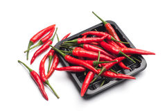 Heap of red hot chili pepper in black container on white backgro Stock Image
