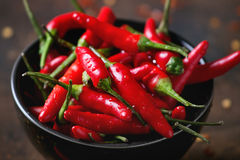 Heap of red hot chili peppers Stock Image