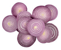 Heap of red onion slices on a white Royalty Free Stock Images