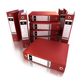 Heap of red ring binders Stock Photos