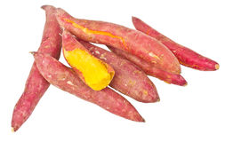 Heap Of Red Yams. One Root Was Peeled Isolated On White Background Royalty Free Stock Images