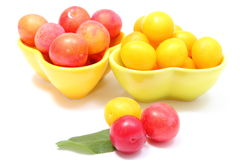 Heap of red and yellow mirabelle in bowls. White background Stock Image