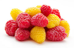 Heap of red and yellow raspberry Stock Photo